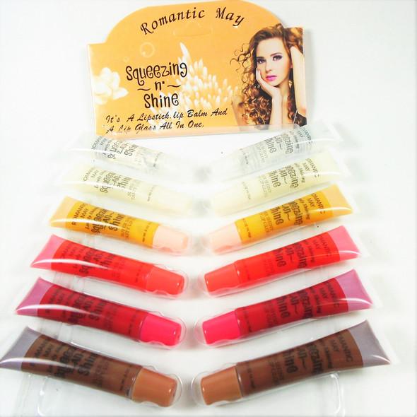 3 in 1 Lipstick/ Lip Balm/Lip Gloss 24 mixed colors per display .40 each
