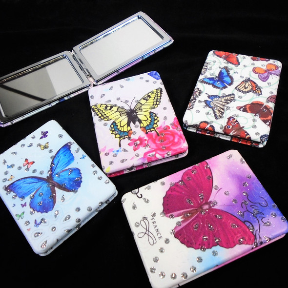 """2.5"""" X 3.5"""" DBL Compact Mirror w/ Crystal Stones Big Butterfly Theme $ 1.20 ea"""