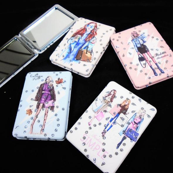 "2.5"" X 3.5"" DBL Compact Mirror w/ Crystal Stones Fashion Girl Theme $ 1.20 ea"