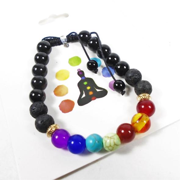 The Seven Chakras Stone Stretch Bracelets Plus Lava Rock Beads .62 each