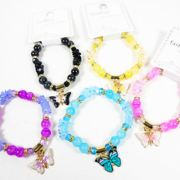 Colorful Beaded Stretch Bracelets w/ Epoxy Butterfly  .60 each