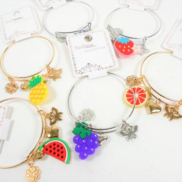 Gold & Silver Wire Bangle Bracelet w/ Seasonal Fruit Charms   .60  ea