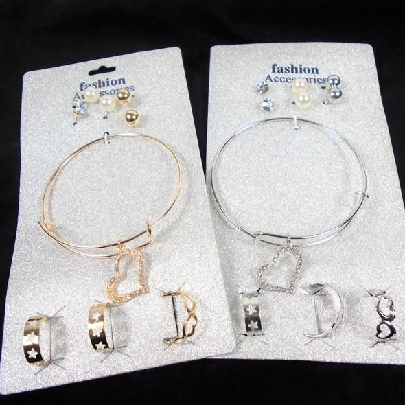 Gold & Silver Wire Bangle Bracelet w/ Heart Charm Plus Earrings & Rings   .62 per set