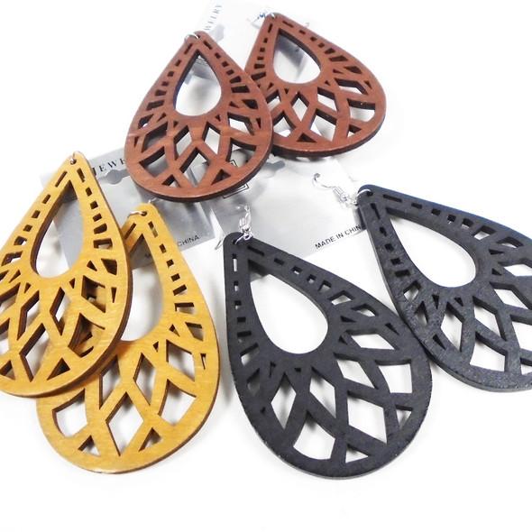 "3.5"" 3 Color Wood Earrings Open Design Tear Drop  Shape    .56 per pair"