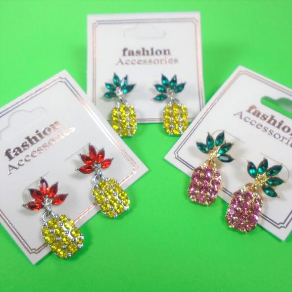 """Trendy 1"""" Crystal Stone Pineapple Earrings  .60 per pair"""