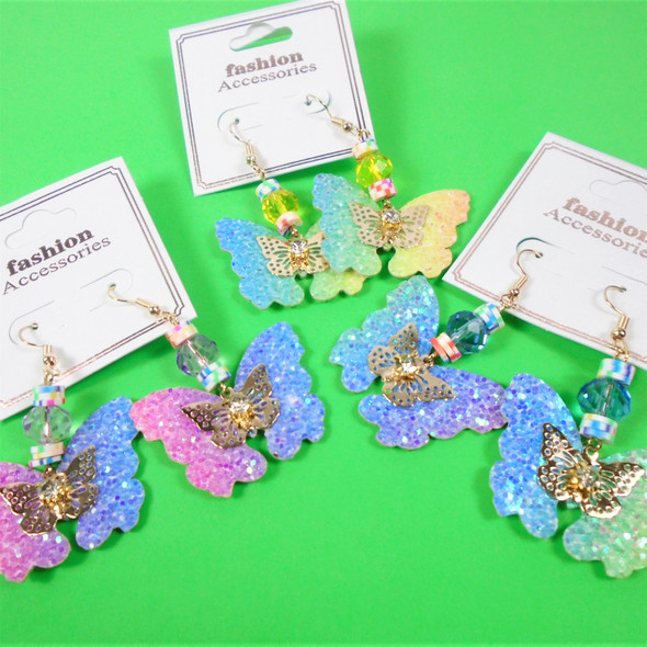 """Trendy 2"""" Sparkle Butterfly Earrings w/ Colored Disc & Crystal Bead   .60 per pair"""