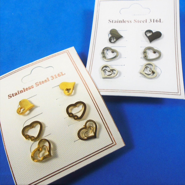 3 -Pair Gold & Silver Stainless Steel Earrings Mixed Heart Theme  .58 per set