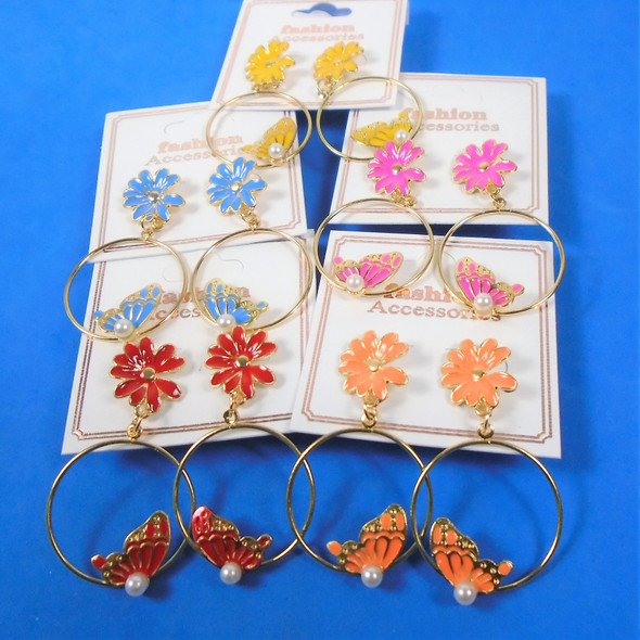 "2"" Butterfly / Flower Theme Epoxy Earrings  Asst Colors  .60  per pair"