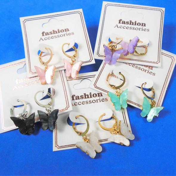Petite Gold & Silver Hoop Earring w/ Shell Butterfly  .60 per pair