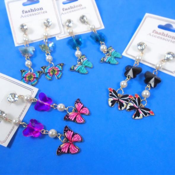 """2.5"""" Dangle 2 Part  Butterfly Earrings w/ Pearls   .60 per pair"""