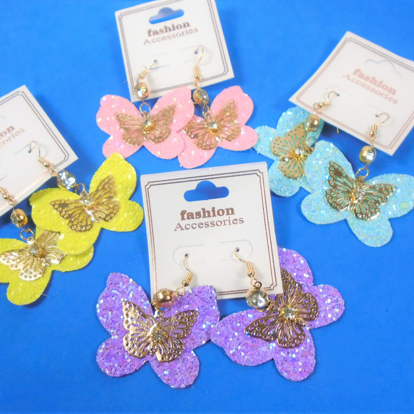 """Trendy 2"""" Sparkle & Gold Butterfly Earrings w/ Crystal Stone  .60 per pair"""