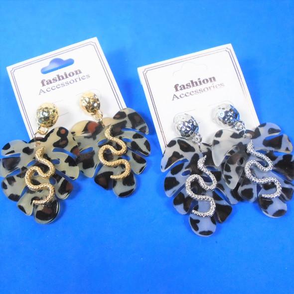 "2"" Animal Print Earrings w/ Gold & Silver Cobra  .60 per pair"