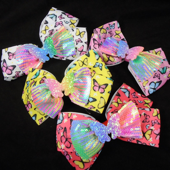 """BEST BUY 6"""" Triple Layer Butterfly Theme Gator Clip Bows  .60 each"""