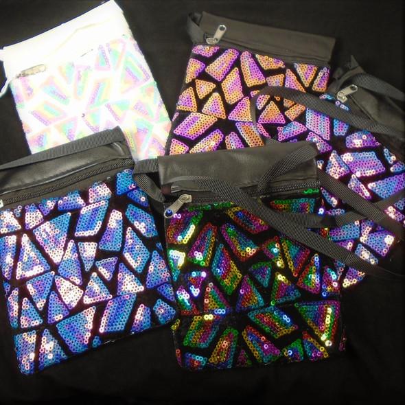 "4.5"" X 6"" Colorful New Sequin Pattern Zipper Bag w/ Strap   .60 each"