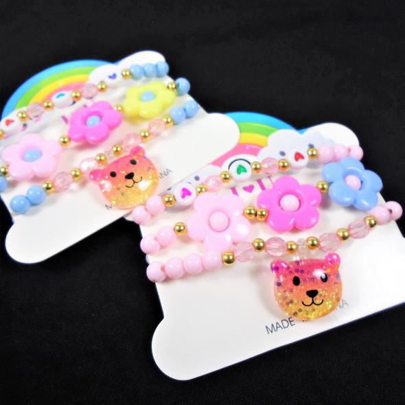 Kid's 3 Pk Stretch Bracelets w/ Bear Theme Charm  .58 per set