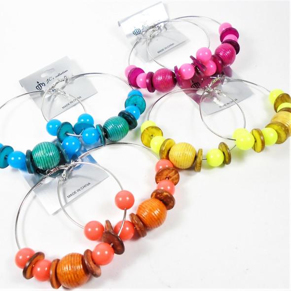 """3"""" Big Silver Hoop Earrings w/ Two Tone Beads MBL & Wood  .60 per pair"""