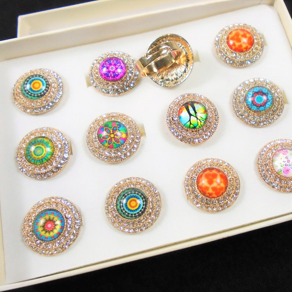 Cool Look Round Gold Fashion Ring Groovy Print Center w. Crystal Stones  .60 each