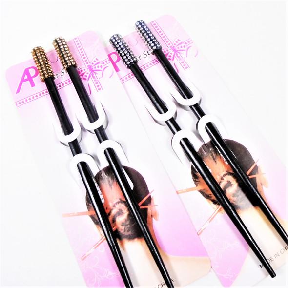 "7"" Black Hair Chopsticks w/ Clear & Gold Crystal Stones  .60 per set"