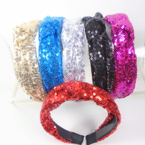"""1.5"""" Fashion Sequin  Headbands w/ Knot 6 colors    .58 each"""