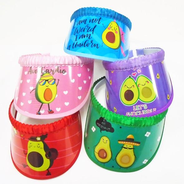 SPECIAL Kids Avocado Theme Fashion Visors  12 per pk Only .65 each