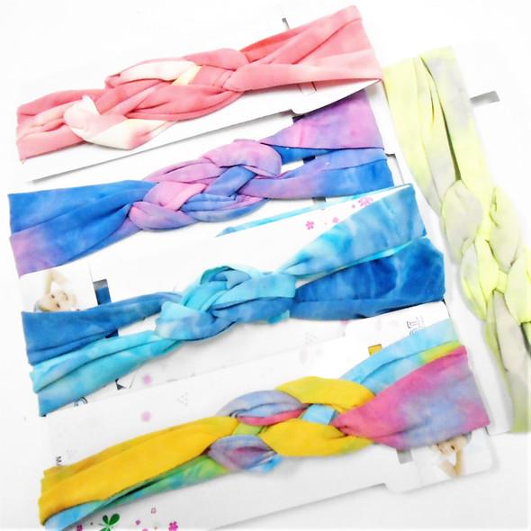 "New 2"" Tye Dye Theme Stretch Braided Center Headbands  Mixed Colors .58 each"