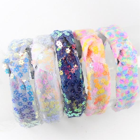 "1.5"" Fashion Daisy Sequin  Headbands w/ Knot Mixed Colors  .58 each"
