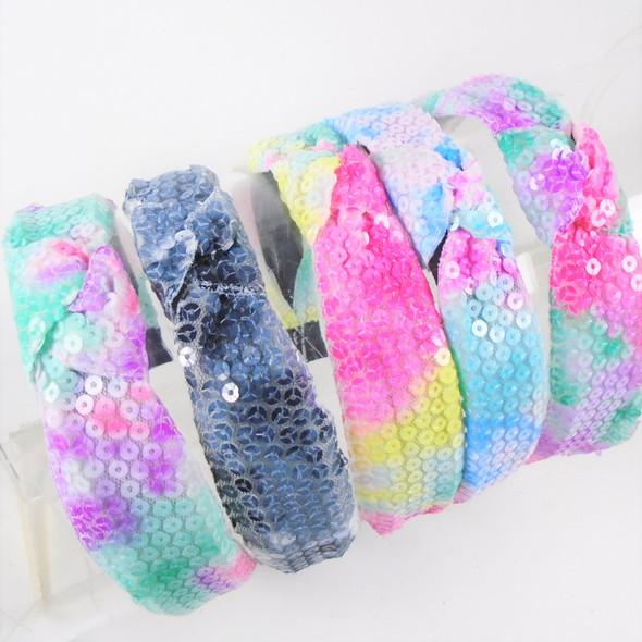 "1.5"" Fashion Round Tye Dye Sequin  Headbands w/ Knot Mixed Colors  .58 each"