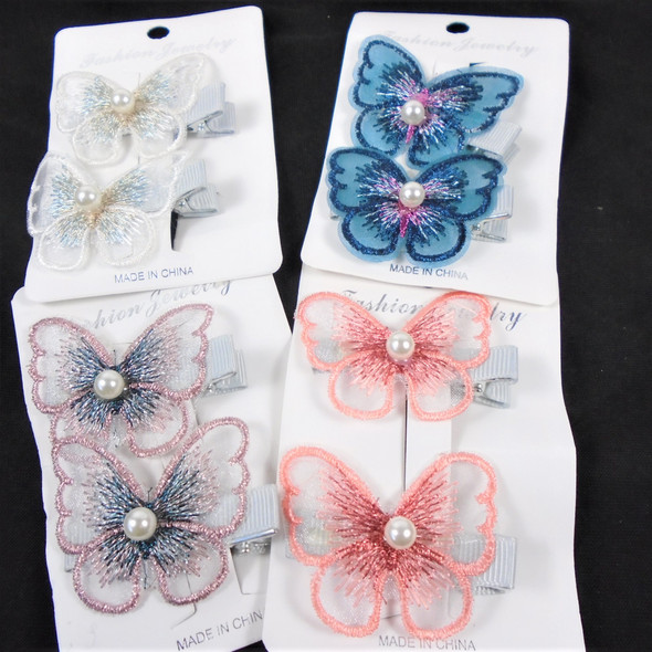 """2 Pack  2.5"""" Lace Wing Fashion Butterfly on Hair Clip   .60 each set"""