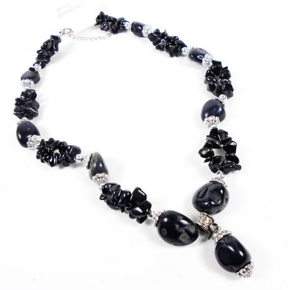 "18"" All Black Semi Precious Stone & Stone Bead Necklace  sold by pc $ 1.75 each"