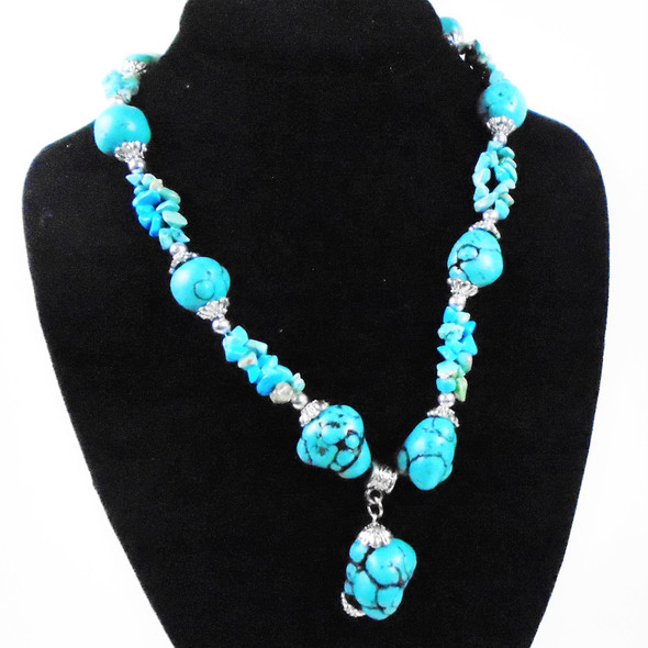 """18"""" Turquoise   Semi Precious Stone & Stone Bead Necklace  sold by pc $ 1.75 each"""