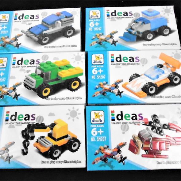 DIY 6 Mixed Vehicle Block Sets  12 per display Mixed Styles .75 each
