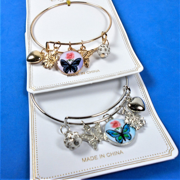 Gold & Silver Wire Bangle Bracelet w/ Mixed Butterfly Charms  .58 each