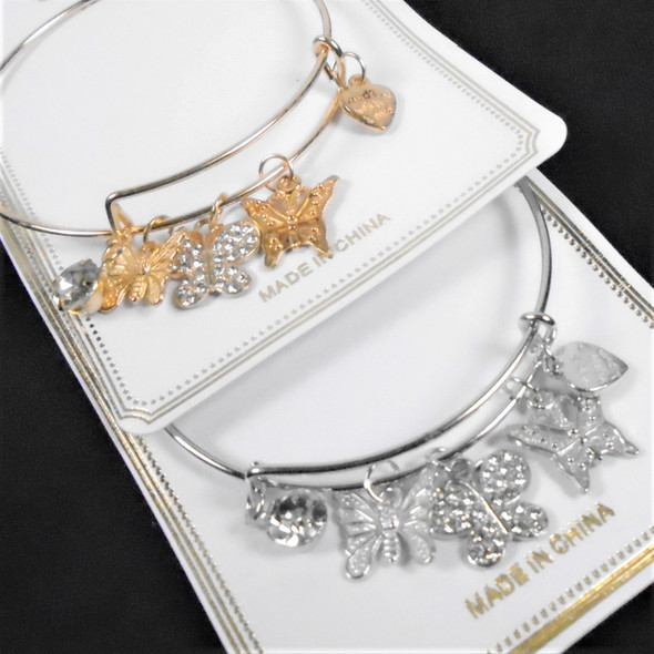 Gold & Silver Wire Bangle Bracelet w/  Heart  & Butterfly Charms   .58  each