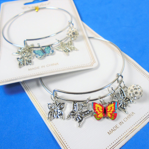 All Silver Wire Bangle Bracelet w/ Mixed Butterfly Charms   .58 ea