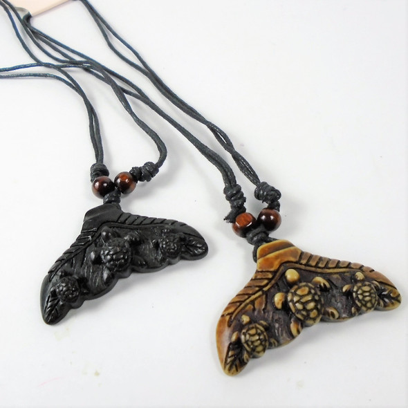 DBL Leather Cord Necklace w/ Whale's Tail Pend. w/ Turtles  .58 ea