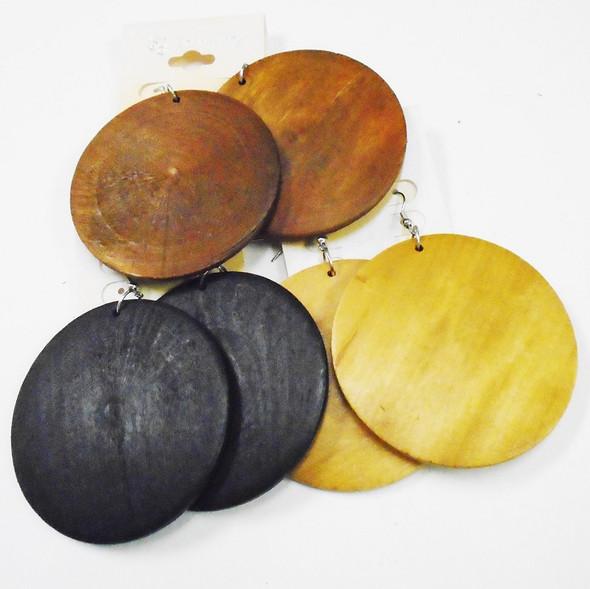 """2.5"""" Round Wood Earrings Browns/Black  .58 ea"""