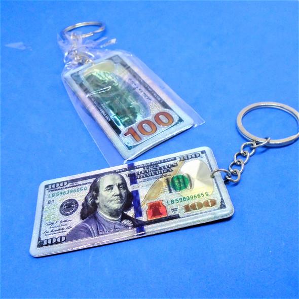 "2.5"" DBL Sided Metal $ 100 Bill  Keychains 12 per pk .60 each"