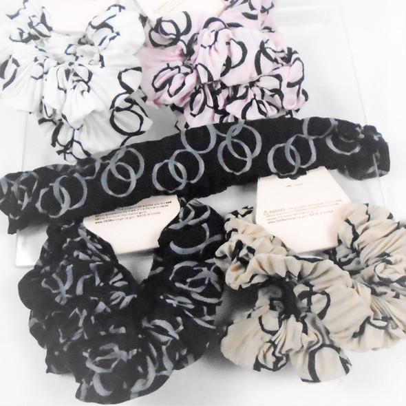 2  Pack DBL Circle Print Hair Scrungi  Asst Colors  .54 per set