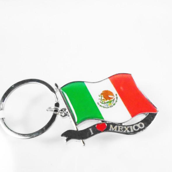 "2"" Metal Silver I Love Mexico Keychains 12 per pk .56 each"