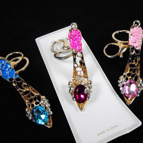 "3.5"" Gold High Heel Epoxy & Crystal Stone Fashion Keychain/CLIP .92 ea"