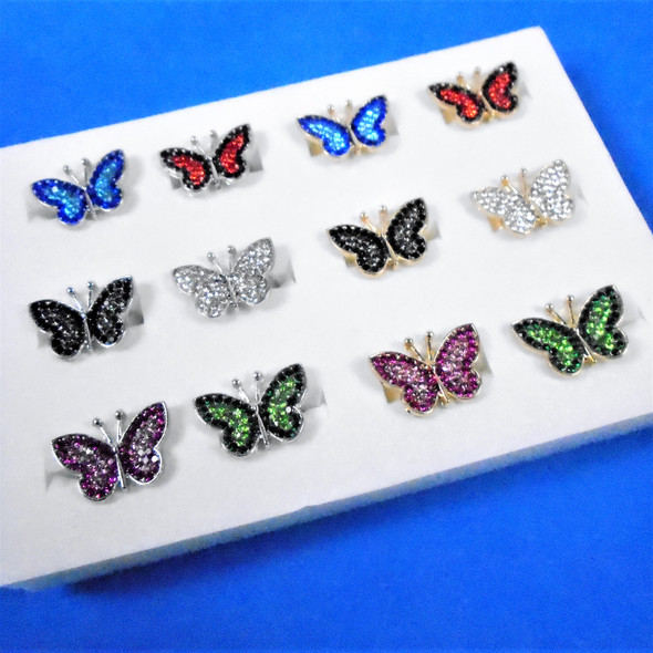 Silver & Gold Two Tone Crystal Stone Butterfly Adj. Rings  12 per bx  .58 ea