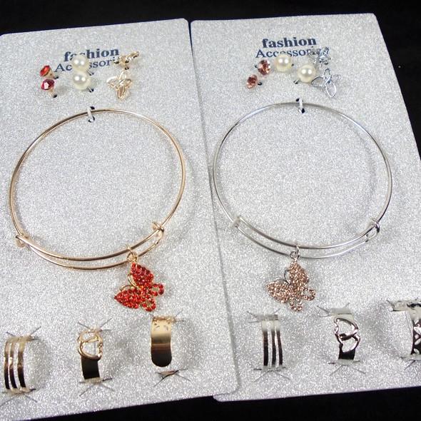 Gold & Silver Wire Bangle Bracelet w/ Butterfly Charms Plus Earring & Rings   .62 per set