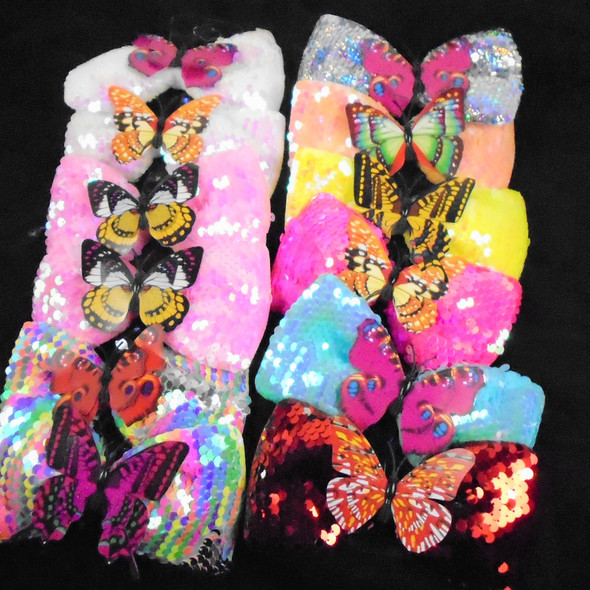 """5.5"""" Sequin Gator CLip Bow w/ Colorful Butterfly Center  .58 ea"""