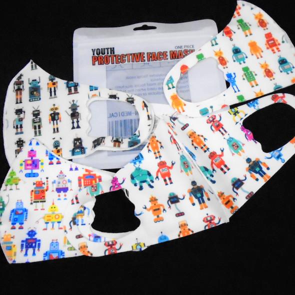 KIDS Face Masks Washable & Reusable w/ Mixed ROBOT Prints (1128)   .30 each