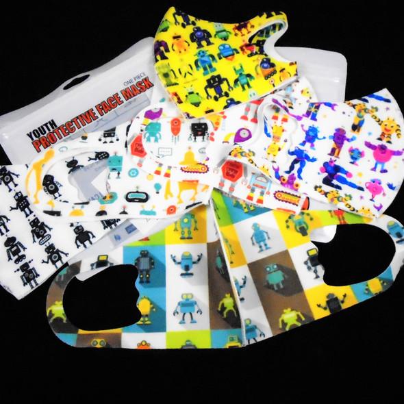 KIDS Face Masks Washable & Reusable w/ Mixed ROBOT Prints (1129)   .30 each
