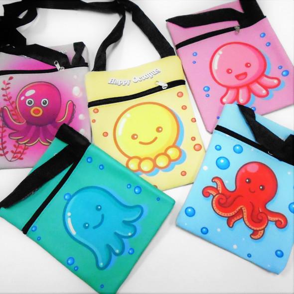 """6"""" X 7.5"""" Fun Octopus Theme Print Zipper Bags w/ Long Strap  .62 each"""