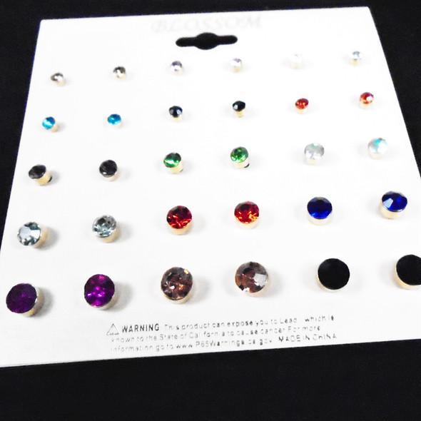 BEST QUALITY 15 Pair Crystal Stone Stud Earrings  .56 per set