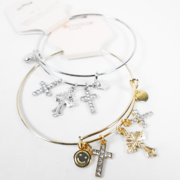 Gold & Silver Wire Bangle Bracelet w/ Mixed Cross Charms  .58 each