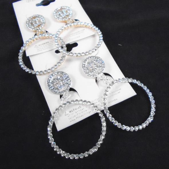 Elegant CLIP ON Earring Crystal Stone DBL Circle Top  .58 per pair