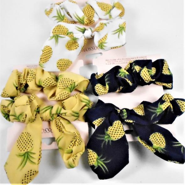 2 Pack Pineapple Print Scrungi  One w/ Wire & Ears  .58 per set